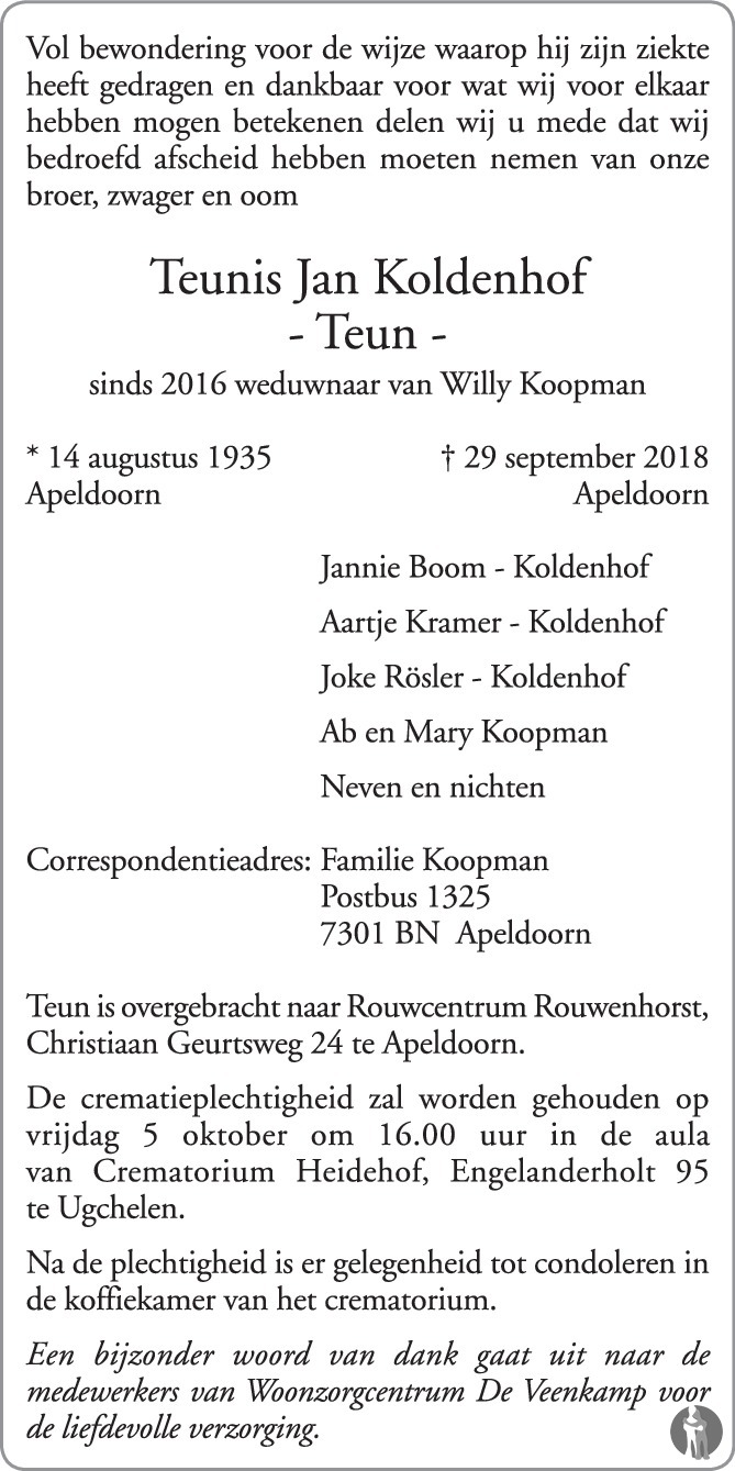 Teun Koldenhof overleden